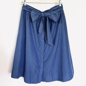 SARA CAMPBELL// button down a-line tie waist skirt